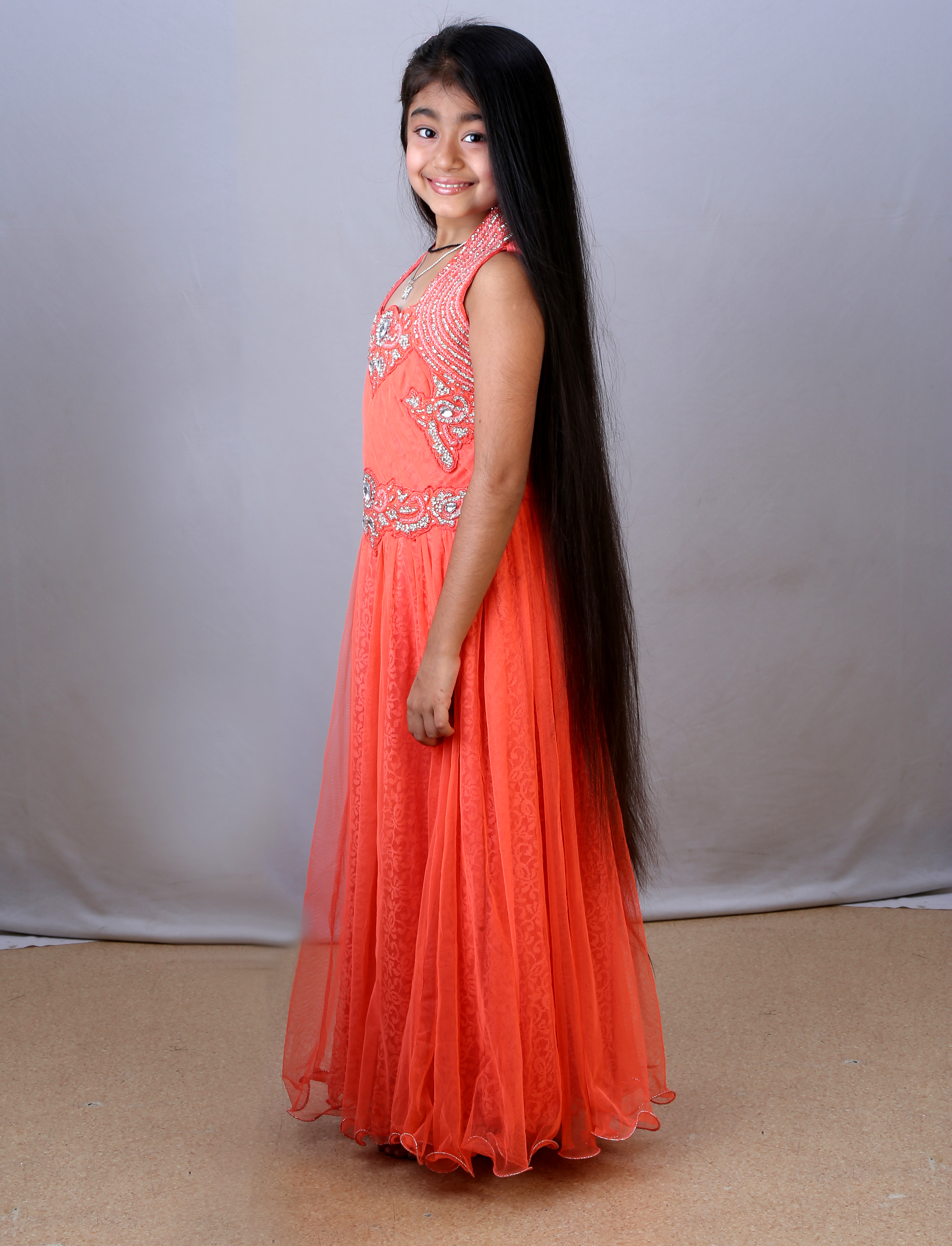 longest hair among children - india book of records