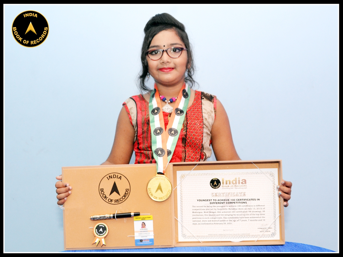 Youngest to achieve 100 certificates in different competitions